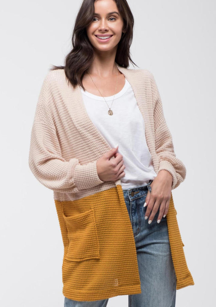 Cream & Mustard Knit Cardigan