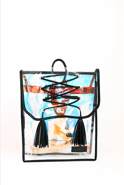 Black Fringe Holographic Backpack