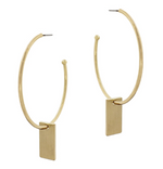 "Matte Hoop with Rectangle Drop 2"" Earring"