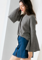 grey wide sleeve sweater