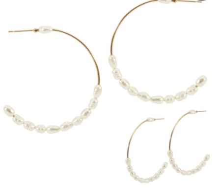 Gold and Freshwater Pearl Hoop Earrings