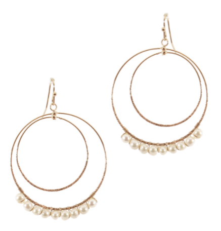 Gold Hoop and Pearl Drop Earring