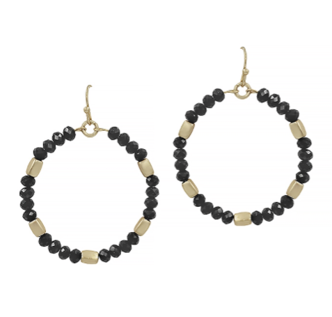 Black Crystal Hoop with Gold Nugget Earring