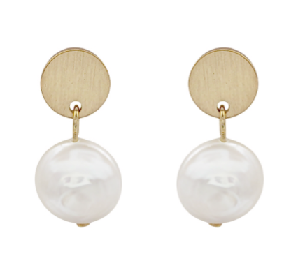 Gold Coin Stud Earrings with Freshwater pearl drop