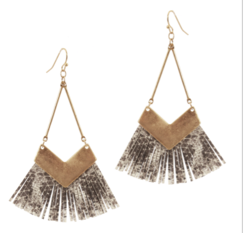 "Gold Triangle with Grey and White Snake Print Leather 2.5"" Drop Earring"