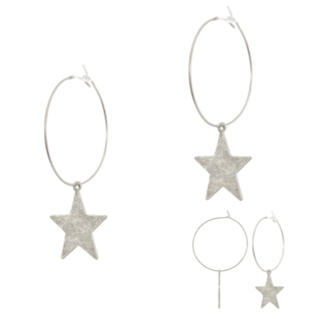 "Worn Hoop Earrings With 2.5"" Star Drop"