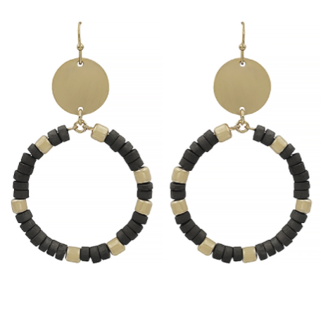 "2"" Gold Drop Circle Earring with Colored Wooden Beads"
