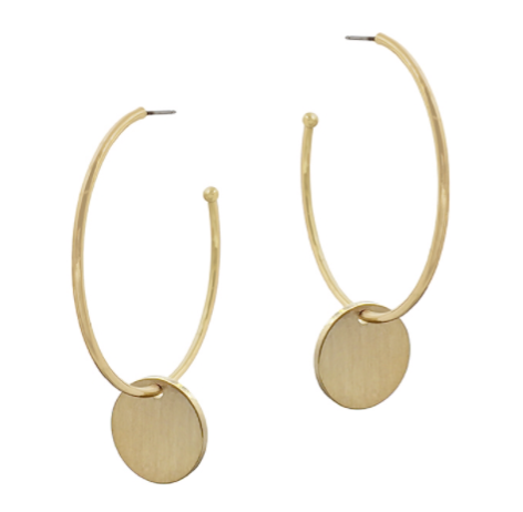 Matte Hoop Earring with Coin Drop Earring
