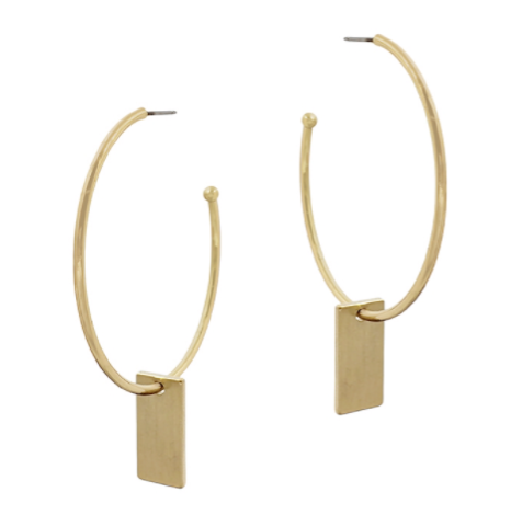 Matte Gold Hoop With Rectangular Drop Earring