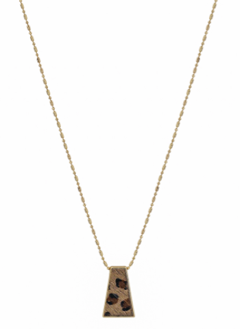 Cheetah Print Geometric Necklace
