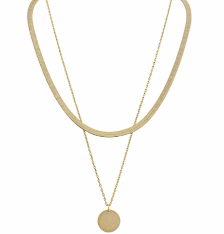 Matte Gold Snake Chain Layered Necklace