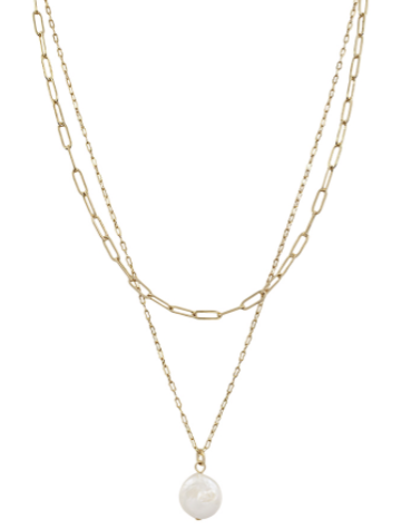 Gold Pearl and Chain Layered Necklace