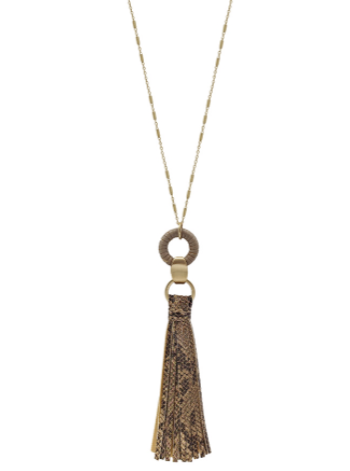 Snake Print Leather Tassel Necklace