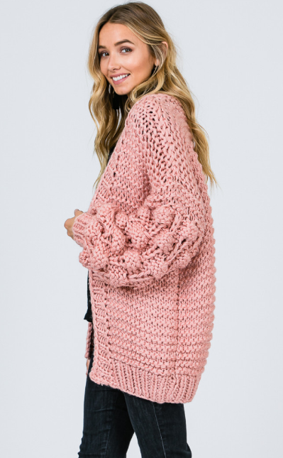 The Holly Hand Knitted Pom Pom Cardigan
