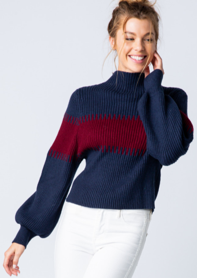 navy and maroon sweater