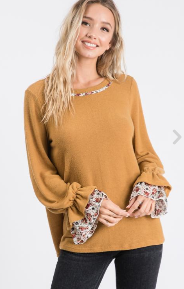 I Choose You Floral Sleeve Top