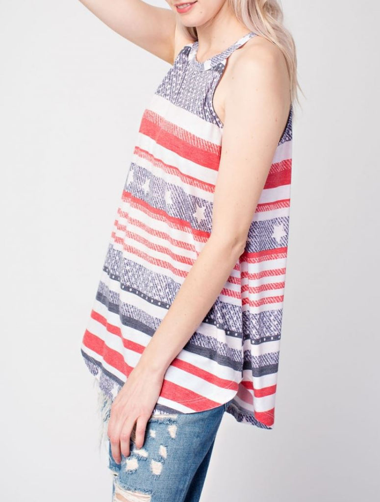 Americana Striped Halter Knit Top