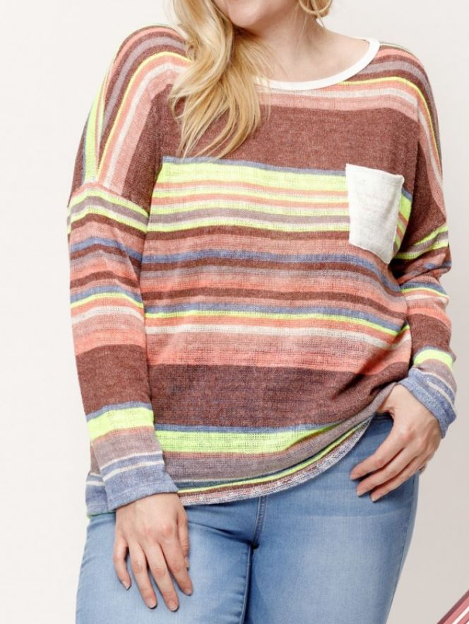 Multi-Striped Pocketed Knit Top - Plus Size