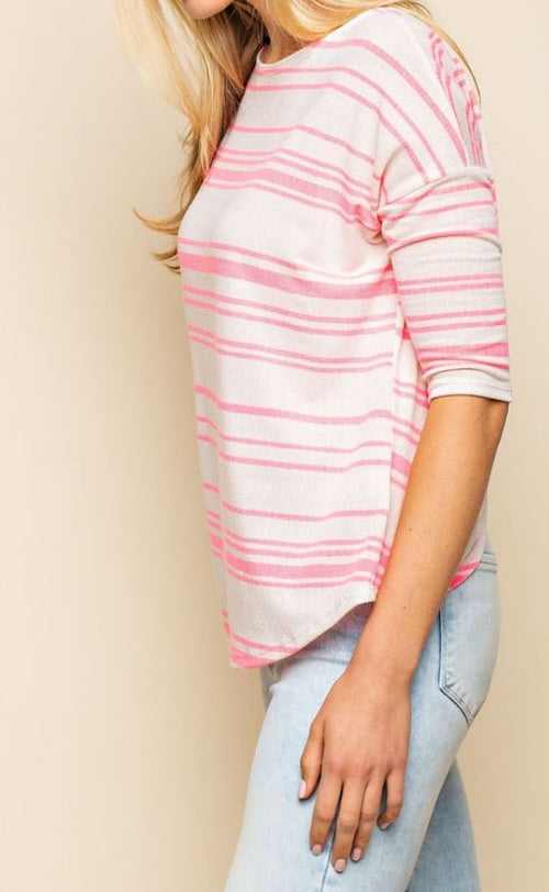 Tickle Me Pink Twisted Back Knit Top