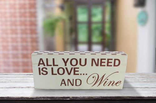 """Love And Wine"" Wooden Box Sign"