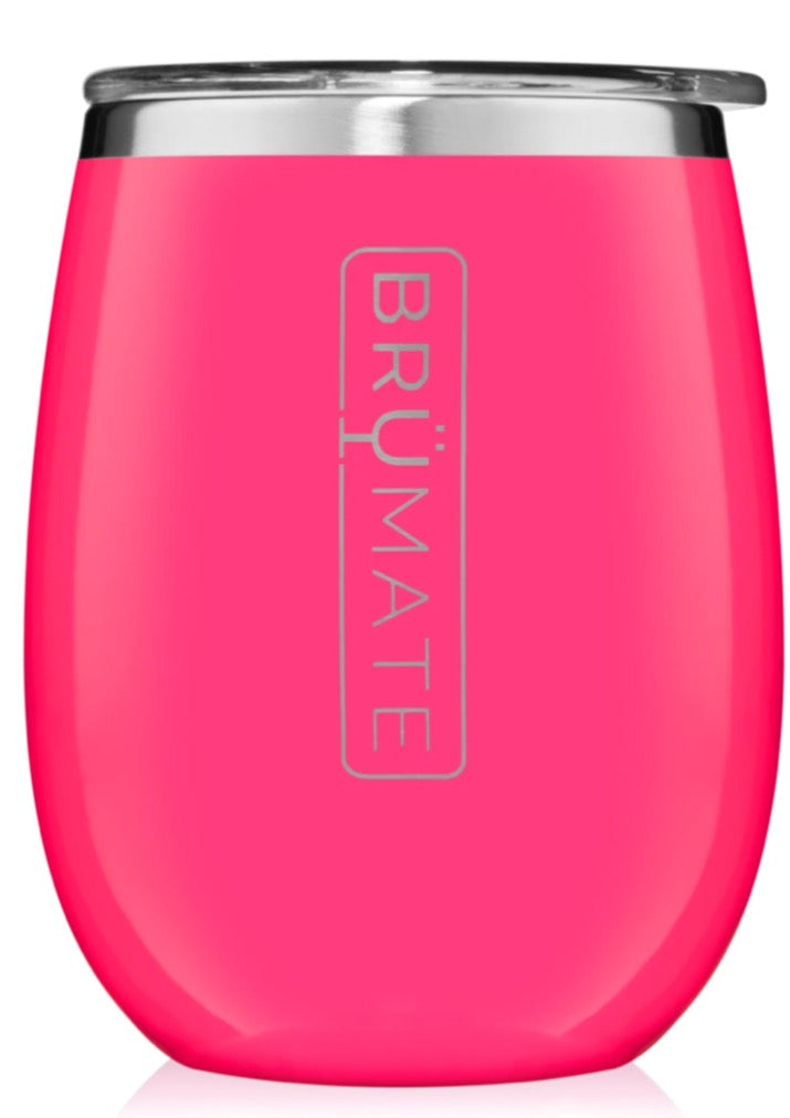 Insulated Wine Glass Neon Pink