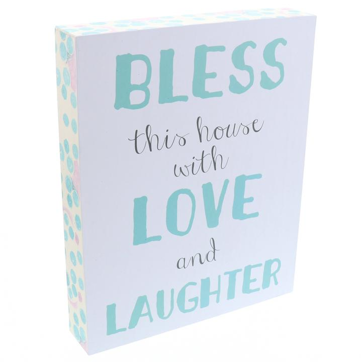 """Bless This House With Love & Laughter"" Wooden Box Sign"