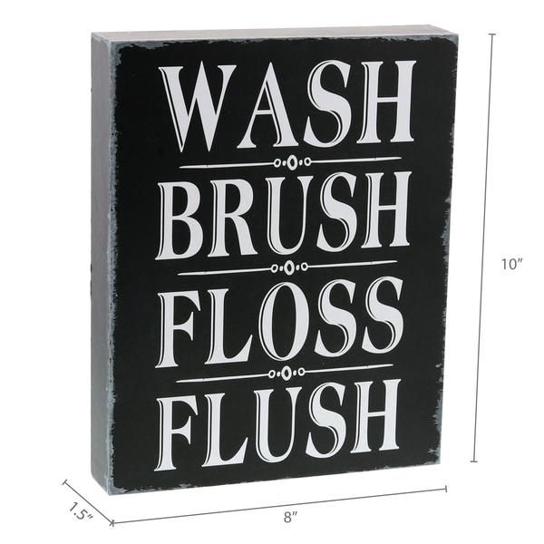 """Wash, Brush, Floss, Flush"" Box Sign"