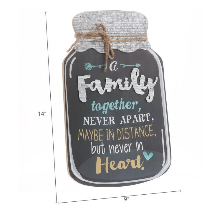 """Family Together, Never Apart"" Mason Jar Wall Hanging"