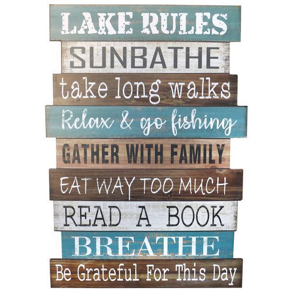 """Lake Rules"" Wooden Sign"