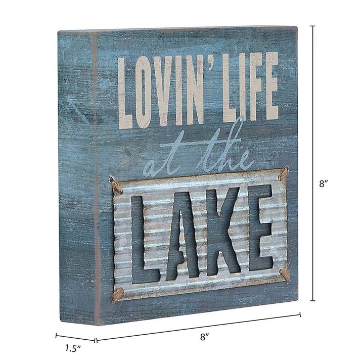 """Lovin' Life at The Lake"" Box Sign"