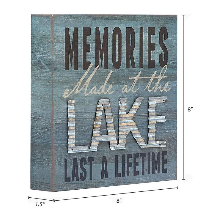 """Memories At The Lake Last A Lifetime"" Box Sign"