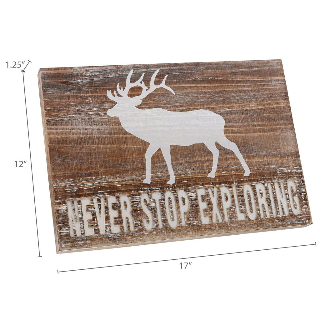 """Never Stop Exploring"" Wooden Plaque Sign"