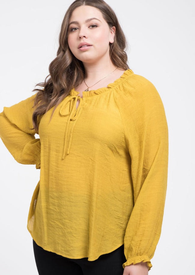 Sunny Day Peasant Blouse Plus