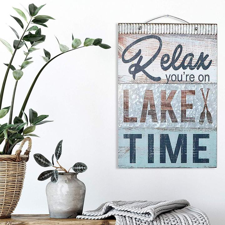 """Relax You're On Lake Time"" Nautical Wooden Plaque"
