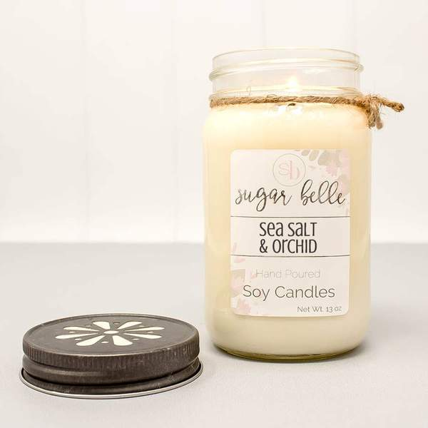"""Sea Salt & Orchid"" Mason Jar Soy Candle"