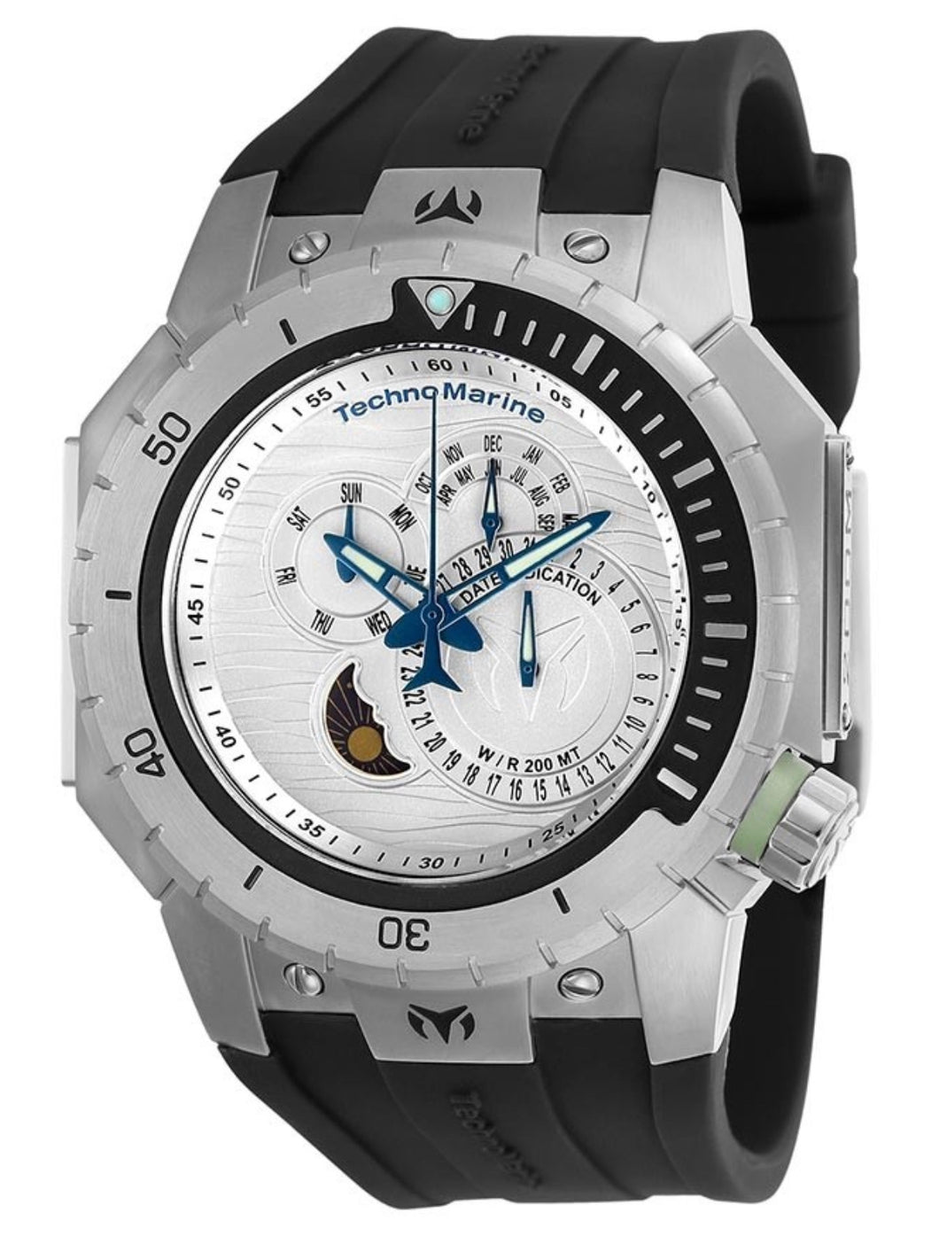 TECHNOMARINE MANTA SEA MENS 48.8 STAINLESS STEEL CASE SILVER DIAL - MODEL TM-216008 - Boutique Watches & More