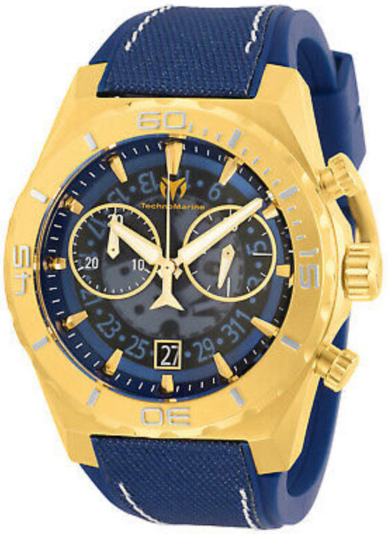 TechnoMarine Men's Reef TM-519009 48mm Blue Dial Silicone Watch - Boutique Watches & More