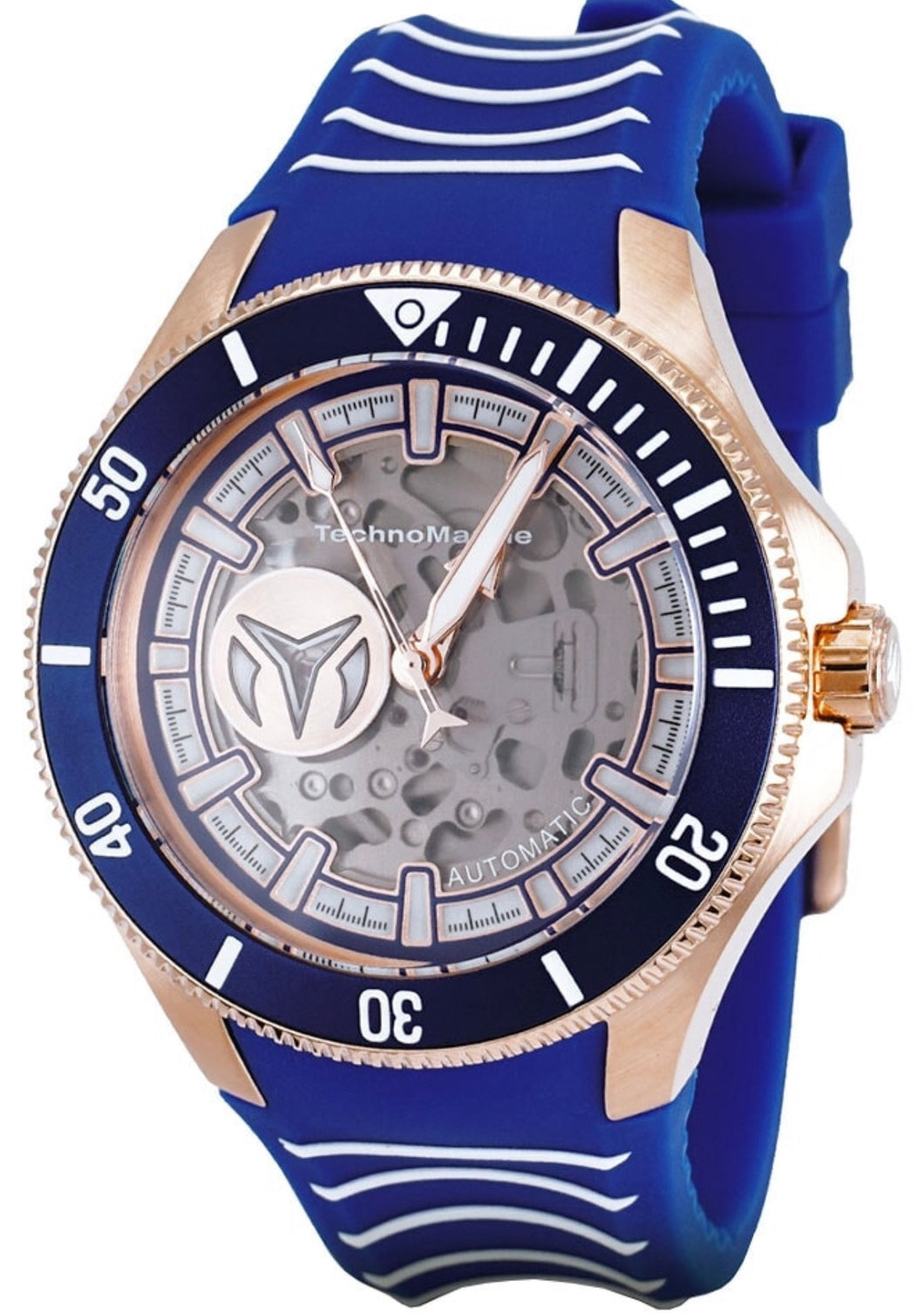 TECHNOMARINE CRUISE MENS AUTOMATIC 47 MM ROSE GOLD CASE BLUE, TRANSPARENT DIAL - MODEL TM-118024 - Boutique Watches & More