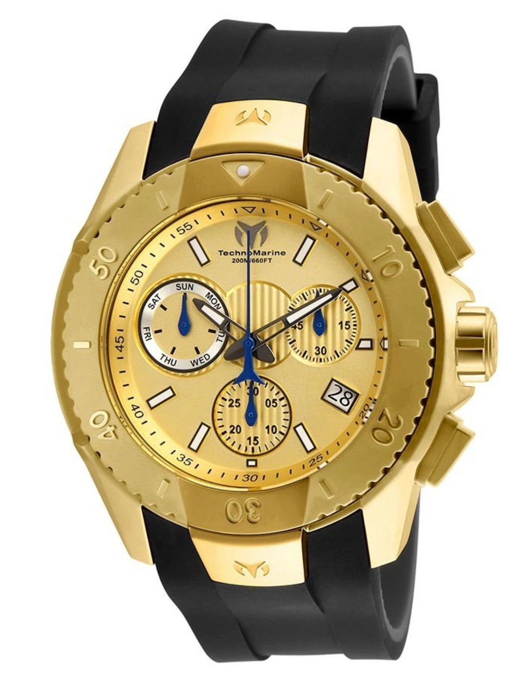 TECHNOMARINE UF6 MENS 48 STAINLESS STEEL CASE GOLD DIAL - MODEL TM-617001 - Boutique Watches & More