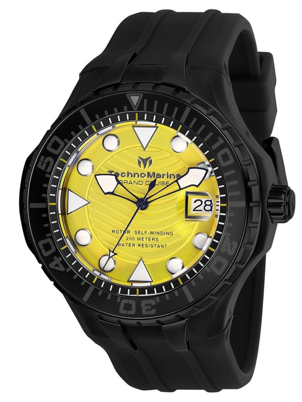 TECHNOMARINE CRUISE MENS AUTOMATIC 48 MM BLACK CASE YELLOW DIAL - MODEL TM-118084 - Boutique Watches & More