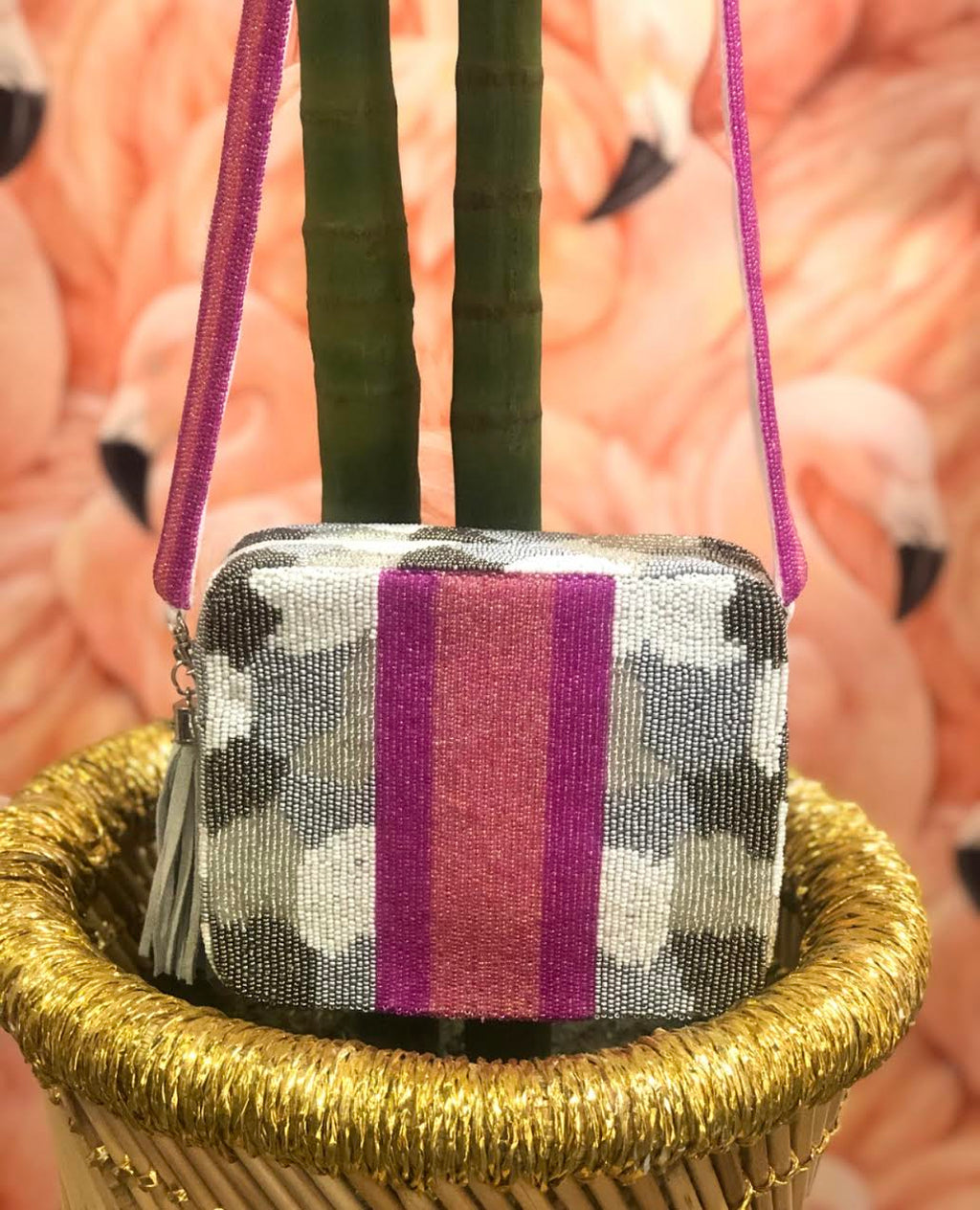Beaded Camo Crossbody Bag