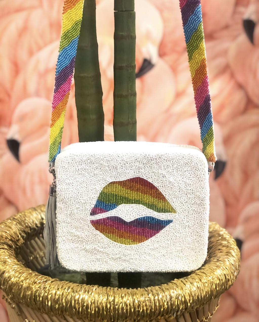 Beaded Rainbow Lips Crossbody Bag