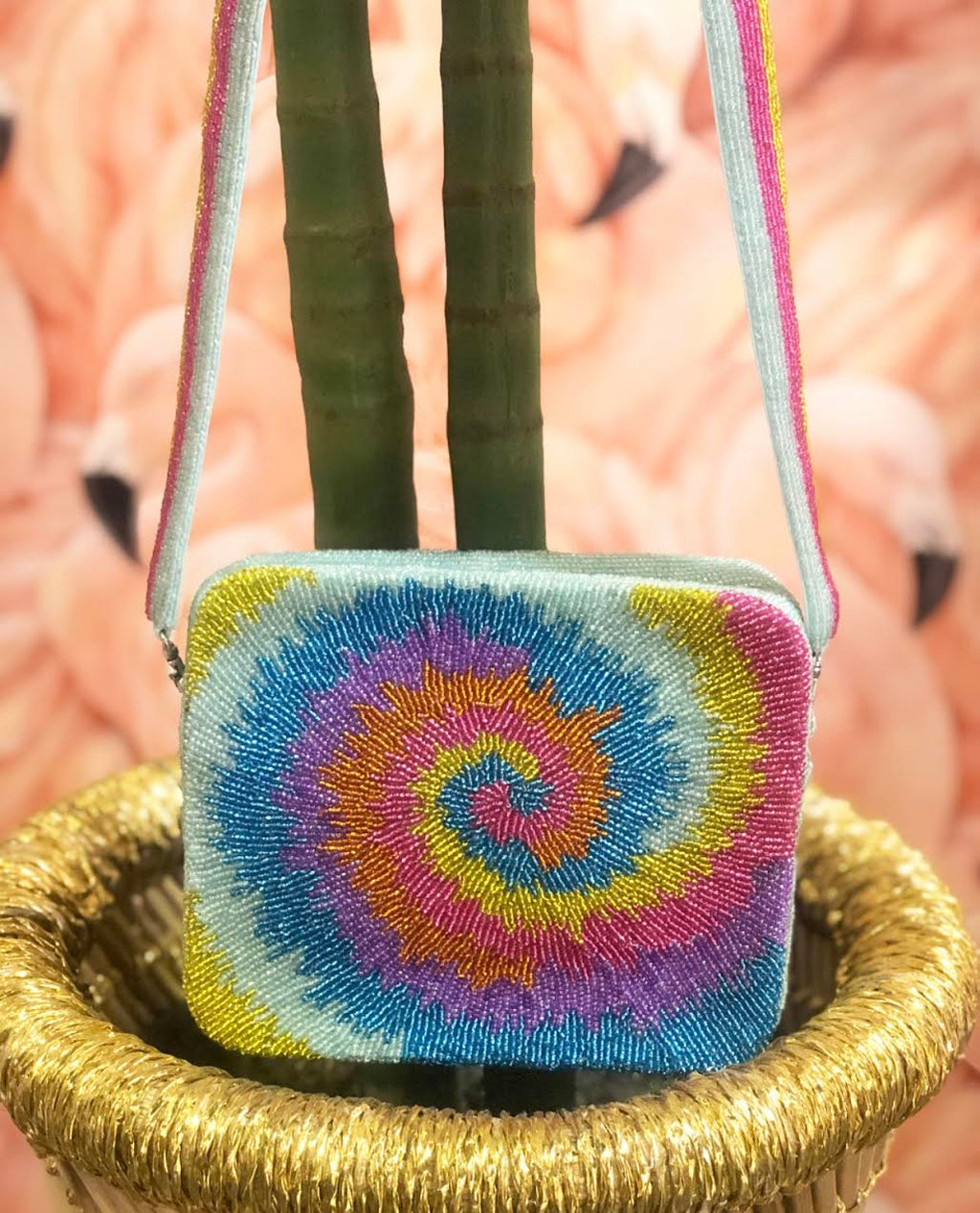 Beaded Tie Dye Crossbody Bag