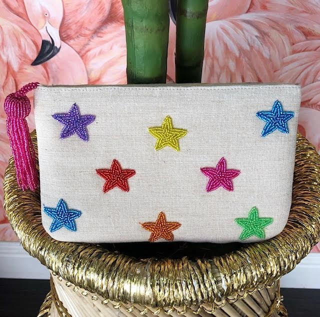 Beaded Star Canvas Clutch