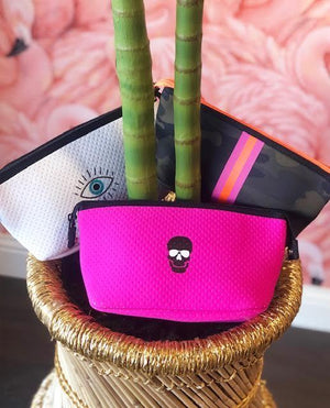 Pink Skull Neoprene Cosmetic Case