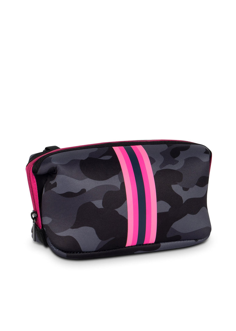Navy Camo & Pink Stripe Neoprene Cosmetic Case