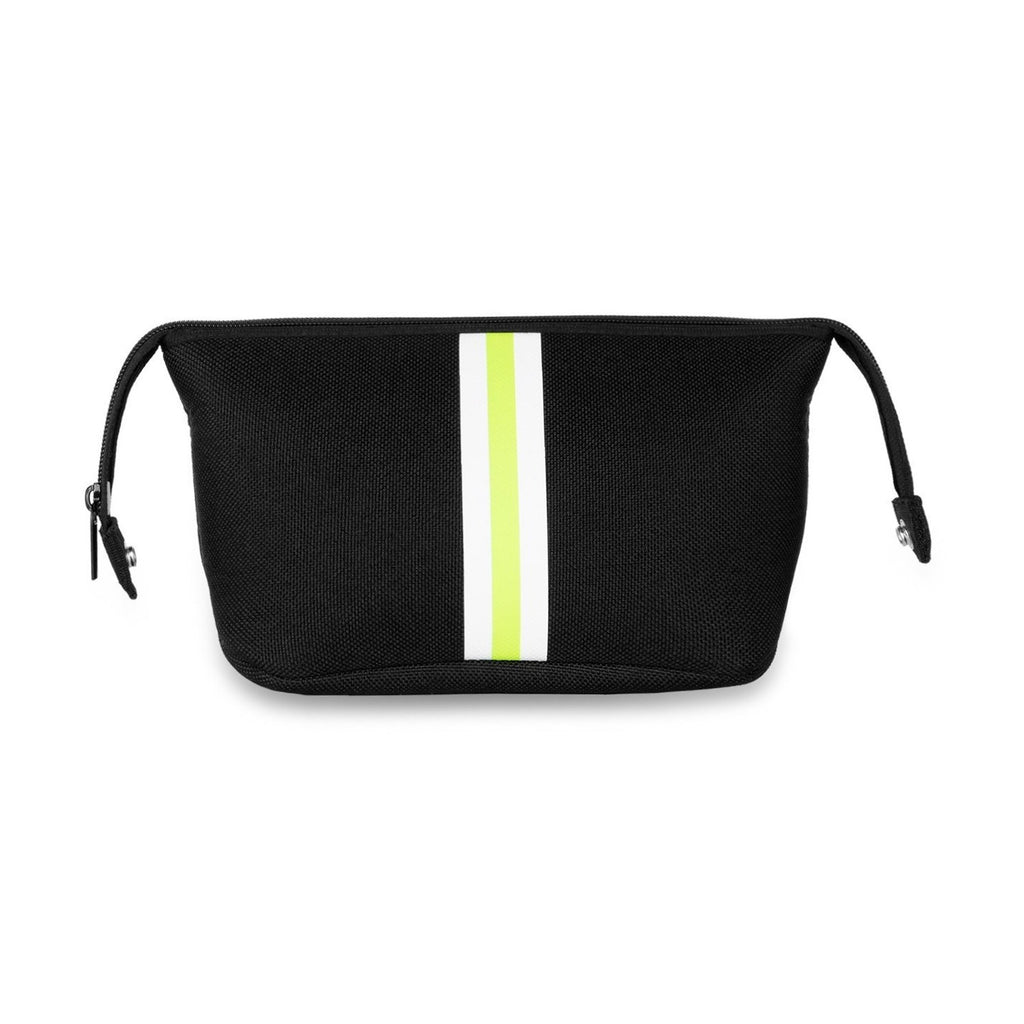 Black & Lime Striped Neoprene Cosmetic Case