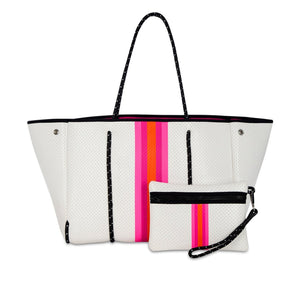 White & Pink Striped Neoprene Tote