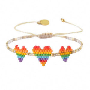 Triple Heart Rainbow Bracelet