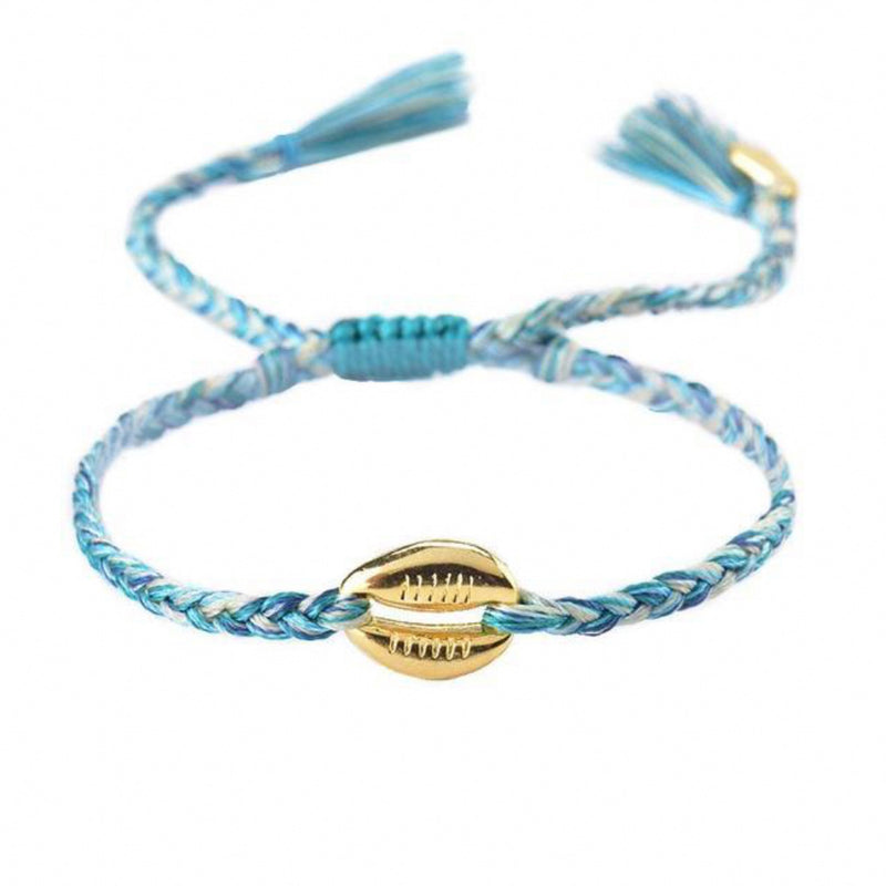 Blue Braided Shell Bracelet
